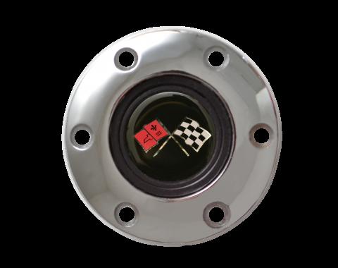 Volante S6 Series Horn Button Kit, Pontiac Cross Flags, Chrome