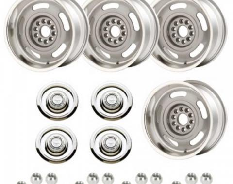 Nova - Rally Wheel Kit, 1-Piece Cast Aluminum With  Flat Disc Brake Style Center Caps,  17x8