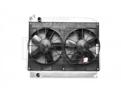 Nova & Chevy II Radiator Module LS Engine With Spal Dual 11'' Fans, Features Passenger Side Inlet, 1962-1967