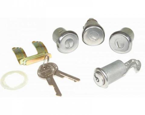 ChevyII-Nova Lock Set, Glovebox, Trunk, Door, With Replacement Style Keys, 1962-1966