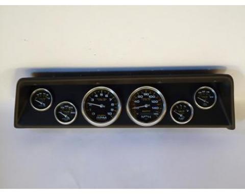 Nova Classic Dash Complete Six Gauge Panel With Autometer Gauges Phantom Carbon Fiber Gauges, 1966-1967