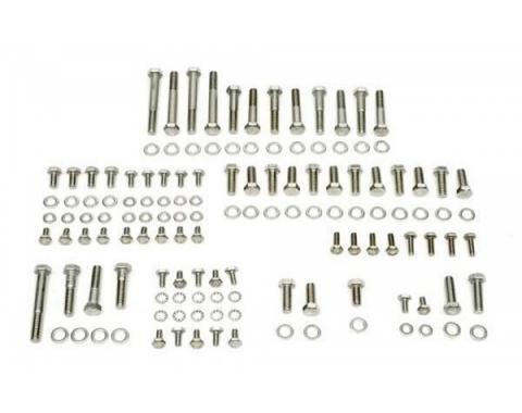 Nova Engine Bolt Kit, Small Block, Stainless Steel, For Cars With Stock Exhaust Manifolds, 1967-1969