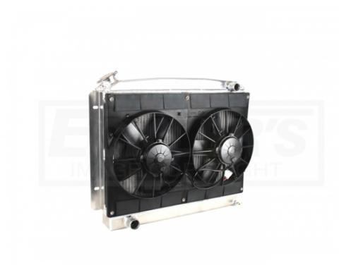 Nova & Chevy II Radiator Module LS Engine With Spal Dual 11'' Fans, Features Drivers Side Inlet, 1962-1967
