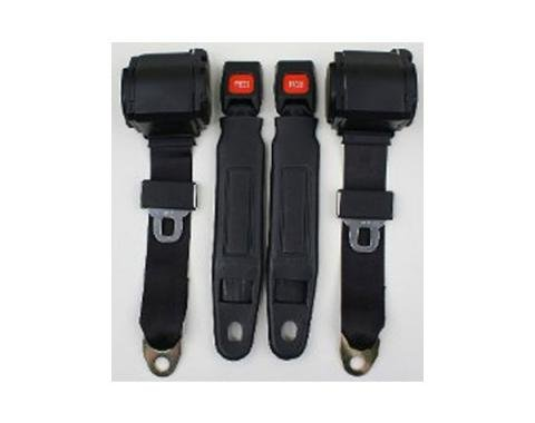 Nova 3-Point Seat Belt With Plastic Push Button, For Bucket Seats Seats, 1964-1975