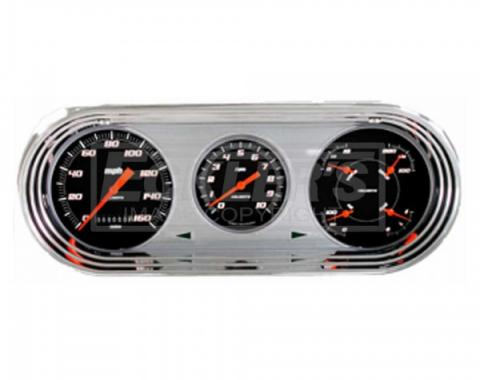 Nova And Chevy II Classic Instruments Velocity Series Analog Gauge Kit, Black Face With Orange Pointers, 1963-1965