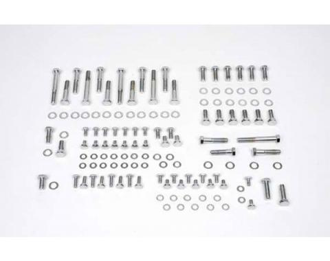 Nova Engine Bolt Kit, Small Block, Chrome, For Cars With Stock Exhaust Manifolds, 1967-1969