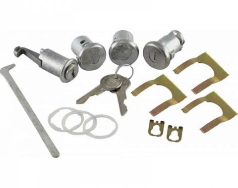 ChevyII-Nova Lock Set, Glovebox, Trunk, Door, With Replacement Style Keys, 1967