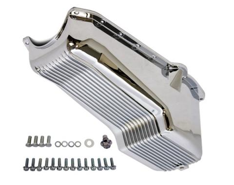 Chevy Small Block Chrome Aluminum Stock Capacity Oil Pan, Retro Finned