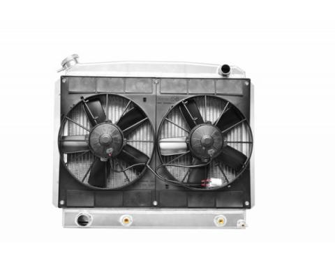 Nova & Chevy II Radiator Module LS Engine With Spal Dual 11'' Fans, Transmission Oil Cooler, 1962-1967