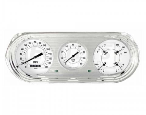 Nova And Chevy II Classic Instruments White Hot Series Analog Gauge Kit, White Face With Black Pointers, 1963-1965
