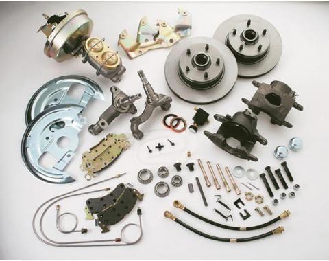 Nova Brake Conversion Kit, Drum To Disc, Front, Single Piston, Power, Cast Iron Calipers, 1962-1967