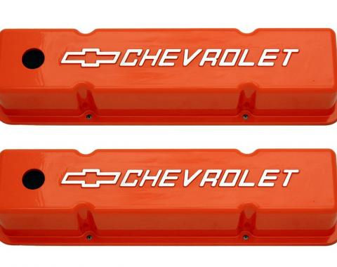 RPC Racing Power Company R7618, Valve Cover, For Use With 1958-1987 Small Block Chevy Engines, 3-7/8 Inch Height, 4 Bolt Holes, With Oil Fill Hole, Orange, Cast Aluminum, Set Of 2