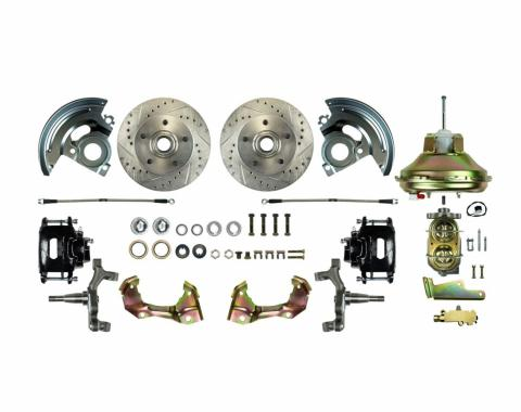 """Right Stuff Power Front 2"""" Drop Disc Brake Conversion Kit with an 11"""" Brake Booster & Master Cylinder, Drilled and Slotted Rotors, Black Powder Coated Calipers and Stainless Hoses for 67-69 F-Body and 68-74 Nova. AFXDC02DS"""