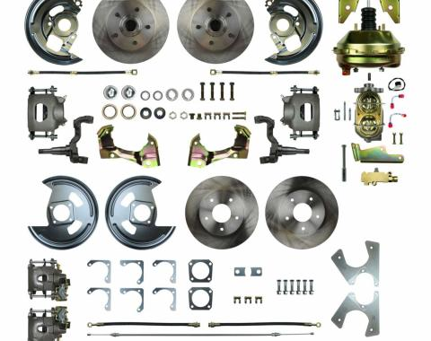 "Right Stuff 4 Wheel 2"" Drop Power Disc Brake Conversion with an 11"" Booster, Master Cylinder & Valve, Spindles, Standard Rotors, Natural Finish Calipers, Hoses and more for 68-69 GM F-Body and 68-74 Nova with Staggered Rear Shocks. AFXDC45D"