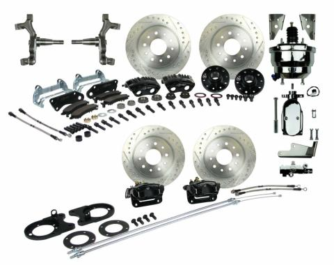 """Right Stuff 4 Wheel 2"""" Drop Big Brake Power Disc Conversion Kit with a Chrome 8"""" Dual Brake Booster & Master Cylinder, Spindles, Drilled & Slotted Rotors, Black Twin Piston Calipers and Stainless Hoses for 68-69 F-Body and 68-74 Nova with Staggered Rear Shocks. AFXDC55DSX"""