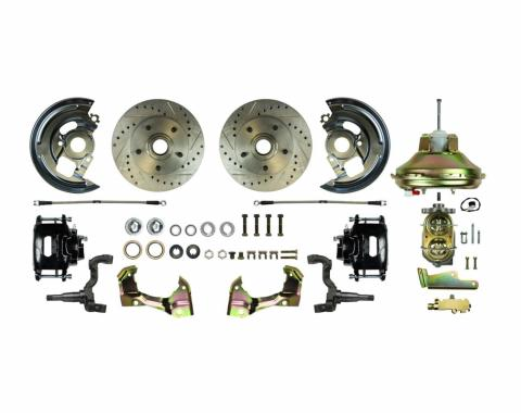 "Right Stuff Power Front Stock Height Disc Brake Conversion Kit with an 11"" Brake Booster & Master Cylinder, Drilled and Slotted Rotors, Black Powder Coated Calipers and Stainless Hoses for 67-69 F-Body and 68-74 Nova. AFXDC02CS"