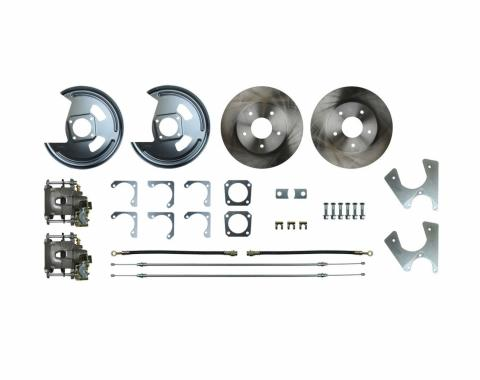 Right Stuff Rear Disc Brake Conversion Kit with Standard Rotors, Natural Finish Calipers, Hoses, E-Brake Cables & more for 68-69 F-Body and 68-74 Nova with Staggered Shocks. AFXRD05