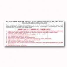 Nova And Chevy II Glove Box Warranty Card, 1965-1969