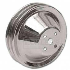 Nova And Chevy II Water Pump Pulley, Small Block With Short Water Pump, Chrome Double Groove, 1962-1968