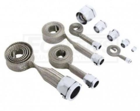 Nova And Chevy II Universal Hose Cover Kit, Stainless Steel With Chrome Clamps, 1962-1979