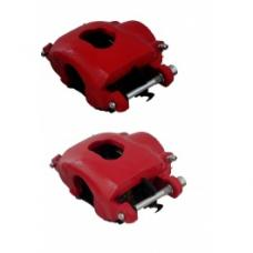 Nova Brake Calipers, Single Piston, Cast Iron Caliper, Red, 1968-1974
