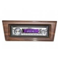 Chevy II-Nova Stereo Radio, KHE-300, AM/FM, Manual Tuning, Chrome Face, Wood Bezel, 1966-1967