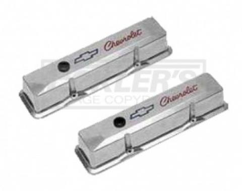 Nova or Chevy II Valve Covers, Small Block, Polished Aluminum, Tall Design, With Chevrolet Script & Bowtie Logo, 1962-1979