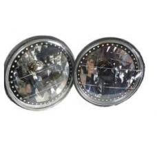Nova and Chevy II Headlight, 7 Inch Round Blackout With Single Color White LED Halo, 1962-1979