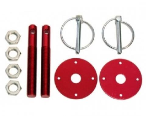 Aluminum Hood Pin Kit, Red
