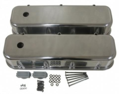 Chevy Big Block Valve Covers, Polished Aluminum, 1965-1995