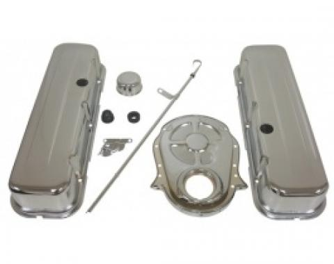 Nova & Chevy II Big Block Chrome Engine Dress Up Kit With Short Smooth Style Valve Covers