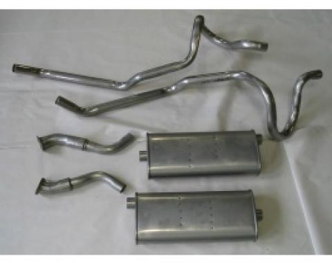 Nova Single Exhaust System Cat Back For 6 Cylinder, V8 Stainless Steel, W/ Dual Tailpipes, 1975-1979