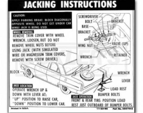 1966 Nova And Chevy II Jack Instruction Decal, Regular Wheel, Coupe And Sedan