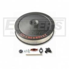 Nova Air Cleaner Assembly, Open Element, Crinkle Black Finish, With Bowtie & Chevrolet Word, 1962-1979
