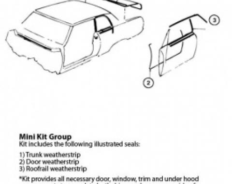 Nova Weatherstrip Mini Kit, 2-Door Hardtop, 1965