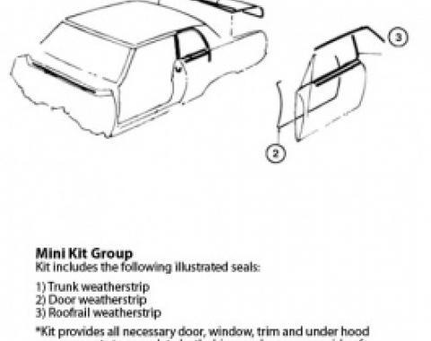 Nova Weatherstrip Mini Kit, 2-Door Hardtop, 1965
