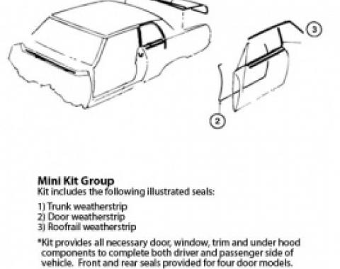 Nova Weatherstrip Mini Kit, 2-Door Hardtop, 1966-1967