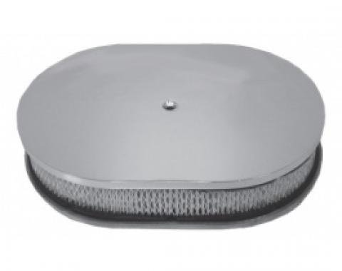 Air Cleaner, Oval Smooth Polished Aluminum, 12