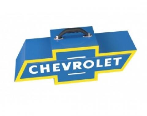 Chevy Bowtie Shaped Portable Tool Box, Blue & Yellow