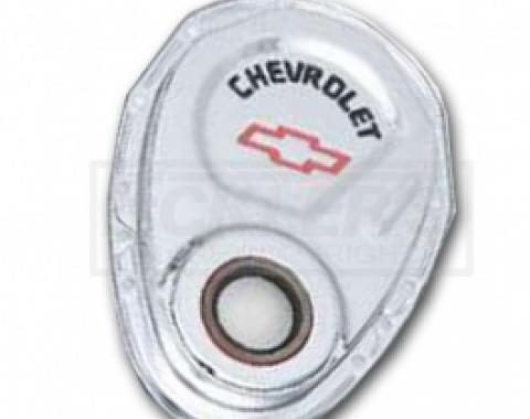 Nova Timing Chain Cover, Small Block, Chrome, With Chevrolet Script & Bowtie Logo, 1967-1969