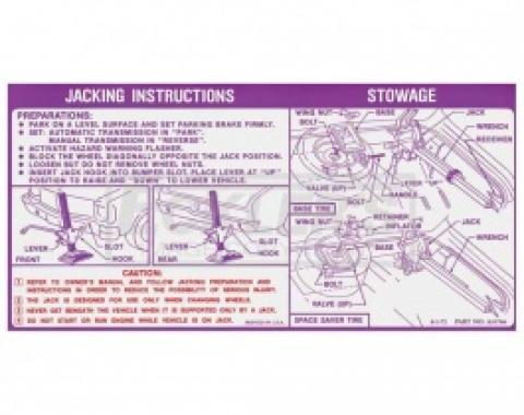 Nova Jack Instruction Decal, Regular And Space Saver Wheel, 1973