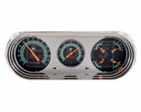 Nova And Chevy II Classic Instruments G Stock Series Analog Gauge Kit, Black Face With Green Lettering And Orange Pointers, 1963-1965
