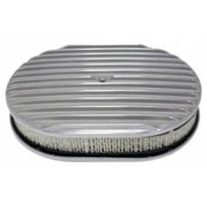 Air Cleaner, Oval Full Finned Polished Aluminum, 12