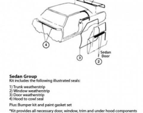 Nova Weatherstrip & Gasket Kit, 2-Door Sedan, 1966