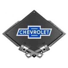 Chevrolet Vintage Bowtie Metal Sign, Black Carbon Fiber, Crossed Pistons, 25 X 19