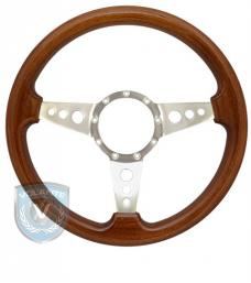 Volante S9 Premium Steering Wheel, Walnut Wood and Brushed Center, 3 Spoke with Holes