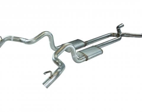 Pypes Crossmember Back w/X-Pipe Exhaust System 70-74 F-Body Split Rear Dual Quarter Exit 3in Intermediate And Tail Pipe StreetPro Mufflers/Hardware Incl Tip Not Incl Polished 304 Stainless Exhaust SGF13S