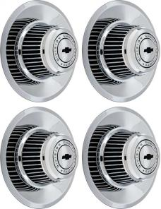 OER 4 Piece Tall Chrome Rally Wheel Derby Cap Set with Center Bow Tie *WR1012