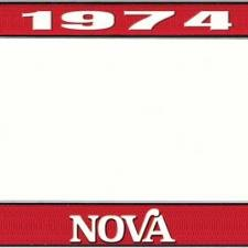 OER 1974 Nova Red and Chrome License Plate Frame with White Lettering LF3567402C