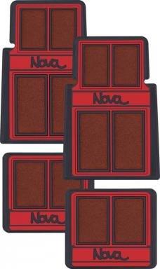 "OER 1962-79 Nova, Carpet Floor Mat Set, ""Nova"" Script Lettering, Red / Black, 4 Piece Set K75902"